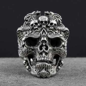Stainless Steel Skull Ring Vintage Punk Titanium Biker Jewelry-