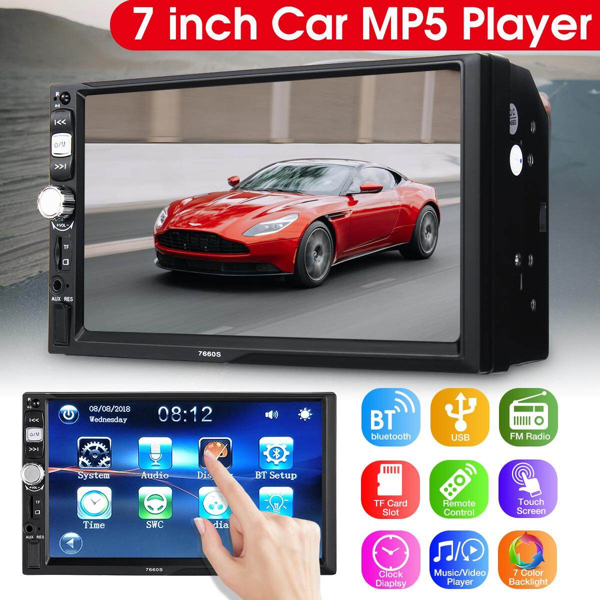 7 12v Hd Bluetooth Stereo Car Radio Mp5 Player 2 Din Head Tft Screen Gps By Motorup.