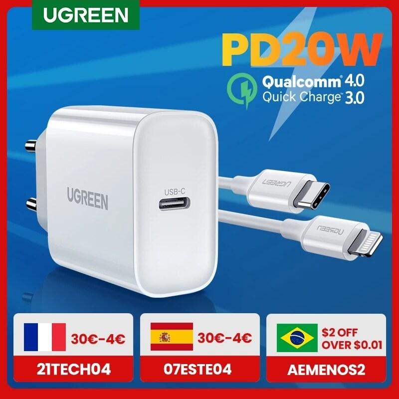 【Còn Hàng】bộ Sạc PD QC Sạc Nhanh 4.0 3.0 Ugreen Bộ Sạc Nhanh USB Loại C QC4.0 QC3.0 20W, Bộ Sạc PD Cho Điện Thoại iPhone 12 X Xs 8 Xiaomi