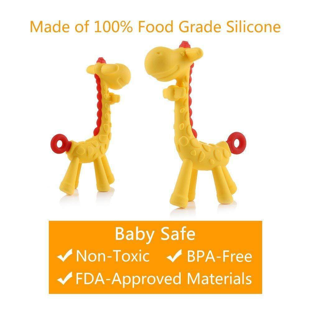 Food Grade Silicone Giraffe Baby Teether Toy Teething Pacifier Chew for Babies w