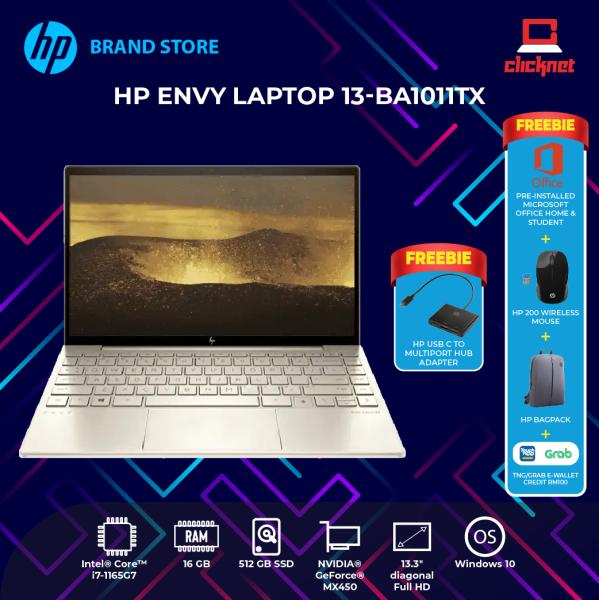 HP ENVY 13-ba1011tx 13.3 FHD  ( I7-1165G7, 16GB RAM, 512GB SSD, MX450 2GB, W10-ADP ) Malaysia