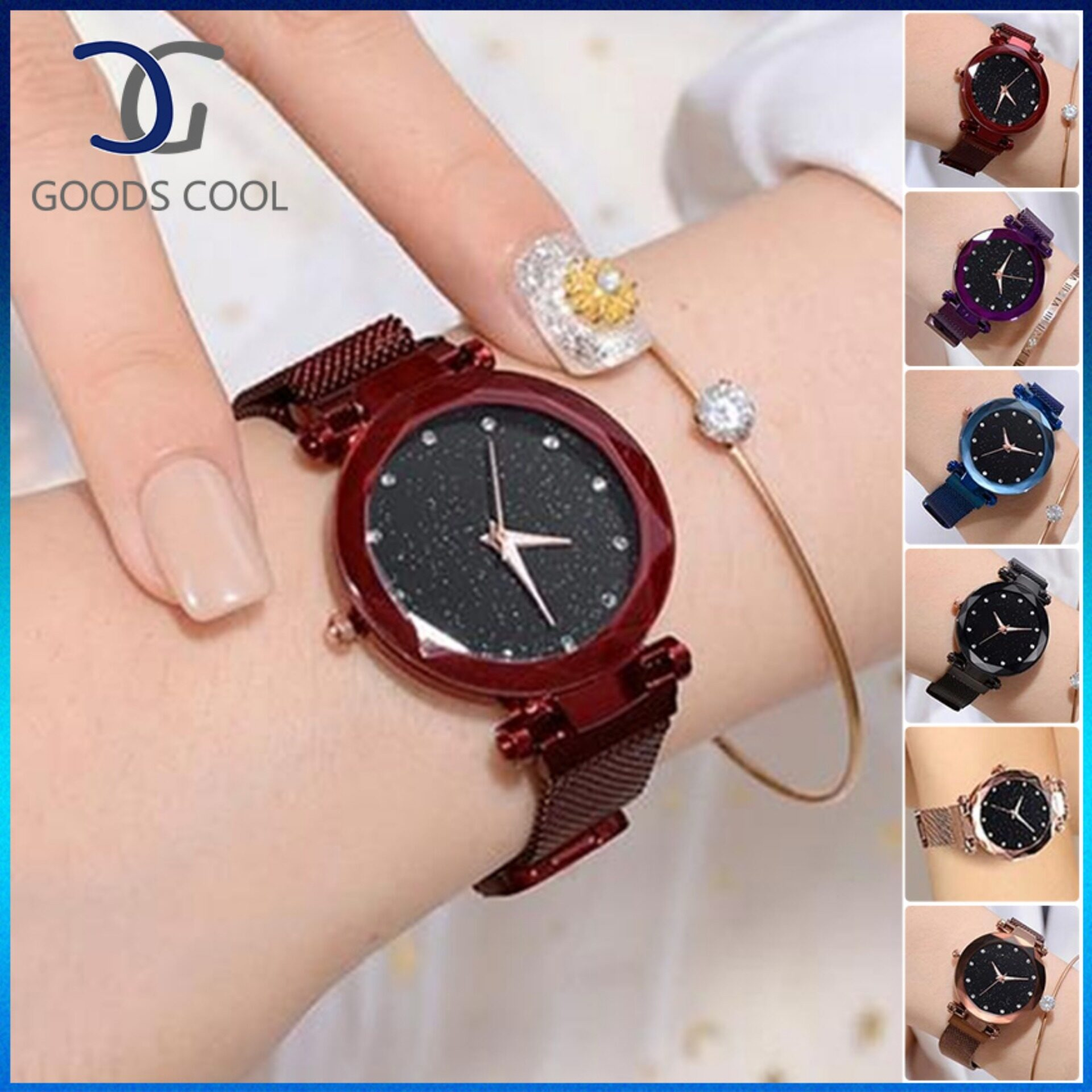 GoodScool Waterproof Starry Sky Quartz Watch For WomenFashion Casual Stainless Steel Ladies Watch with Magnet Strap BuckleGift Women Watch with Magnet Milan Mesh Belt Malaysia