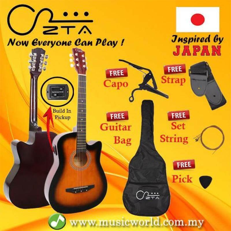 ZTA 38 Inch Acoustic Guitar Sunburst EQ Pickup Cutaway Starter Pack Folk Guitar Bundle With Plug In Amp Equalizer Malaysia
