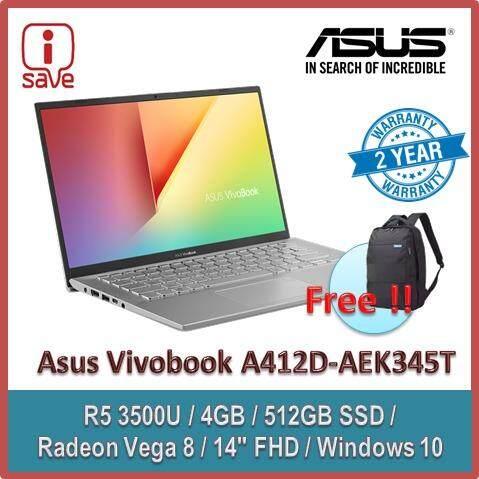 ASUS Laptop VIVOBOOK A412D-AEK345T 14 FHD Transparent Sliver (Quad Core R5-3500U, 4GB, 512GB SSD, Radeon Vega 8, W10) FREE ASUS BACKPACK Malaysia