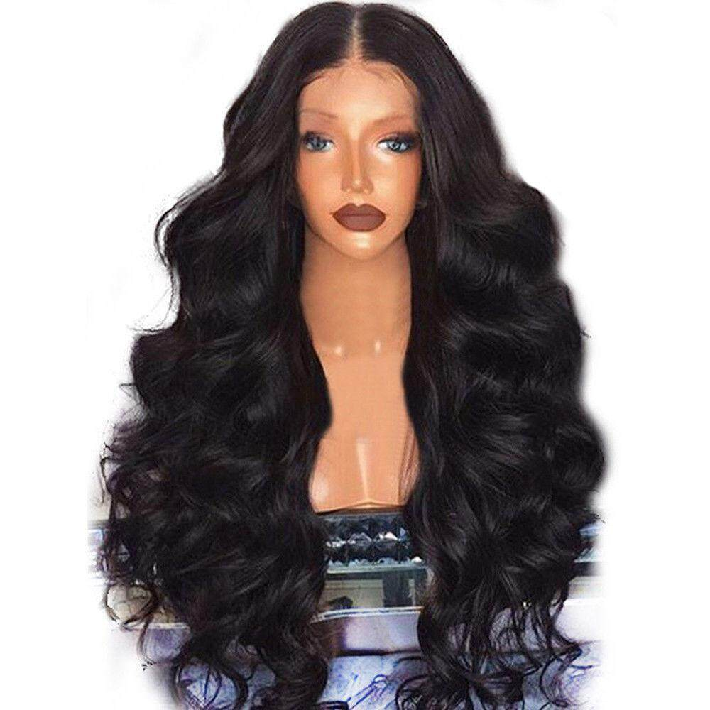 Fang Fang Black Curly Wavy Brazilian Remy Human Hair Body Wave Lace Front Human Hair Wigs For Women Girls By Fangfang_719.