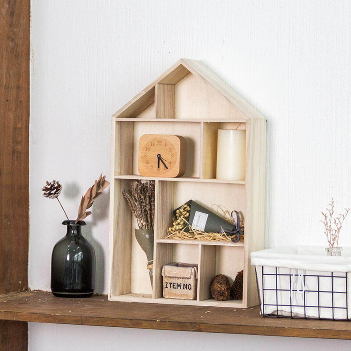 Wall Storage Unit Cube Display Shelf Wooden House Shape 8 Compartment Decor