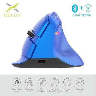 Delux M618 Mini 4.0 2.4 Ghz 2 mô hình Không Dây Dọc Chuột 4 Bánh Răng DPI RGB Thiết Sạc Silent Click Chuột dùng cho Văn Phòng Xanh Dương thumbnail