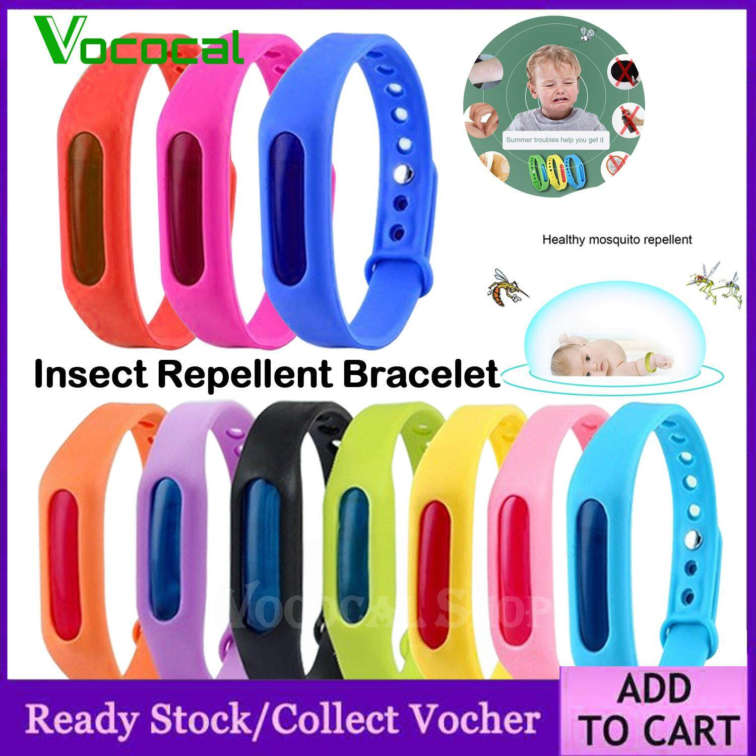 10PCS Assorted Colors Natural Non-toxic Soft TPU Mosquito Insect Repellent Bracelets Wristbands for Kid Children Adults Indoor Outdoor