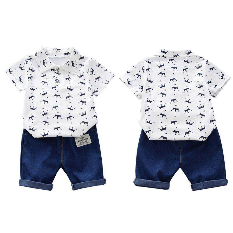 e1432842554b Summer Baby Boy Clothes Floral Print Short Sleeve Shirt Blouse Shorts  Casual Outfits Clothes By Babyqt