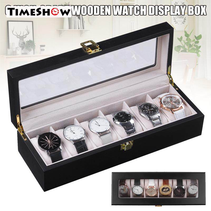 TimeShow 6 Slots Watch Protective Box Wooden Case Display Organizer Elegant Storage Tray for Men Women Malaysia