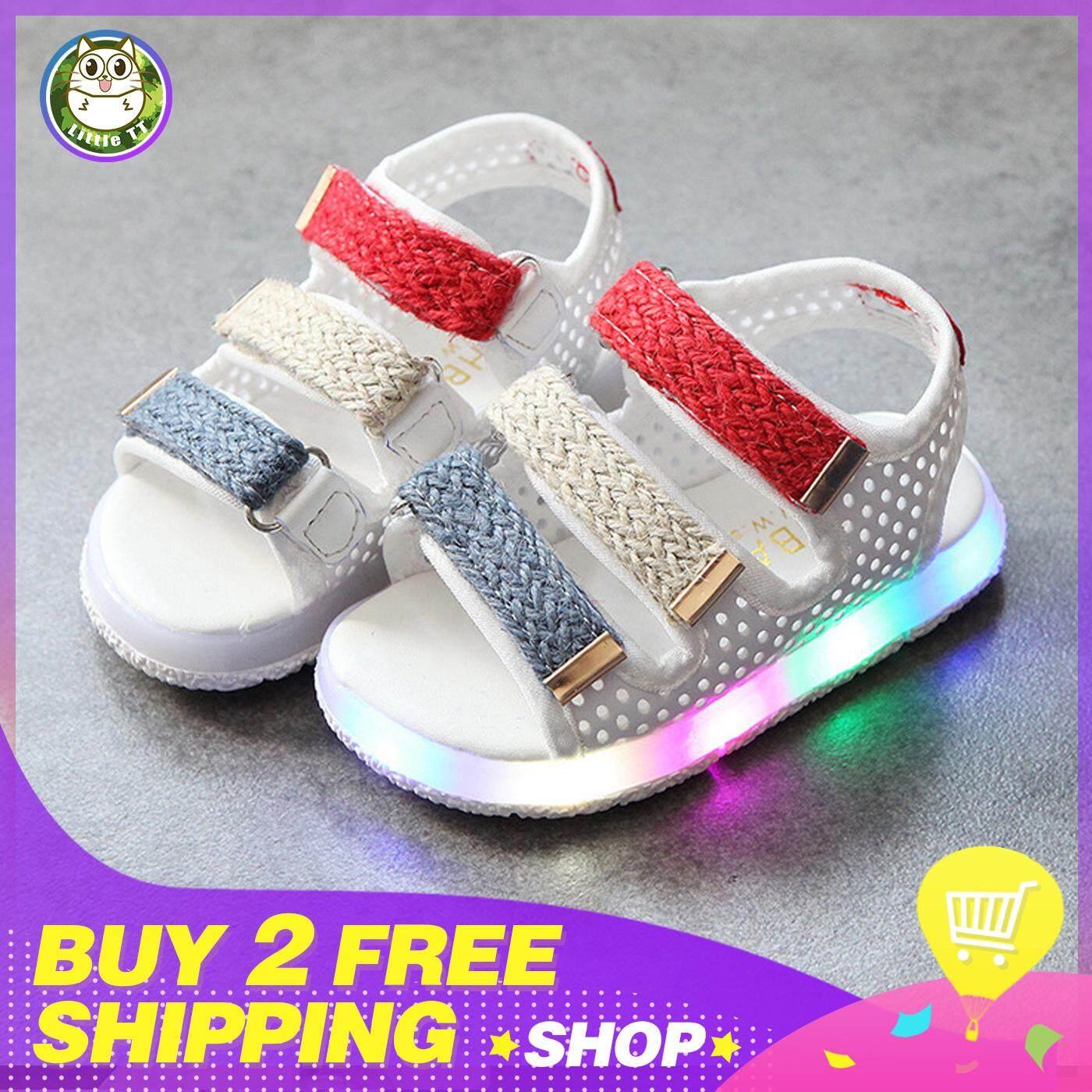 fbfebf6c42752 Little TT 2019 Summer Children Led Light Shoes Boy Sandals Girls Sandals  Color Korean-style Hollow Breathable Kids Shoes 2 3 4 5 Years Old