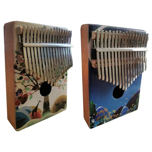 2x 17 Key Thumb Piano with Study Instruction and Tune Hammer Wood Hand Finger Piano Mbira Gifts (Animals&Stars)