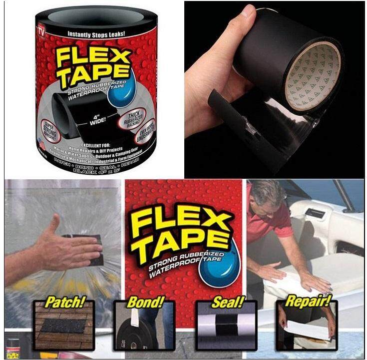 FLEX-TAPE MULTIPURPOSE ADHESIVE STRONG RUBBERIZED WATERPROOFING TAPE 10CM X 150CM (BLACK)