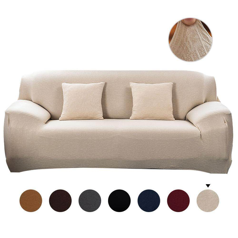 Fortunet Knitted Jacquard Sofa Cover Stretch Polyester Spandex Fabric Couch Slipcover, 4 Seater Sofa Protector