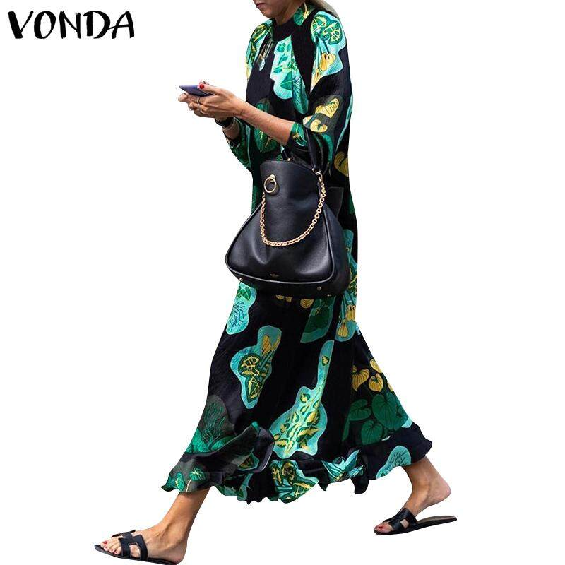 4dbe6d925711 VONDA Women Evening Party Floral Print Long Sleeve Ruffle Casual Oversized  Long Dress