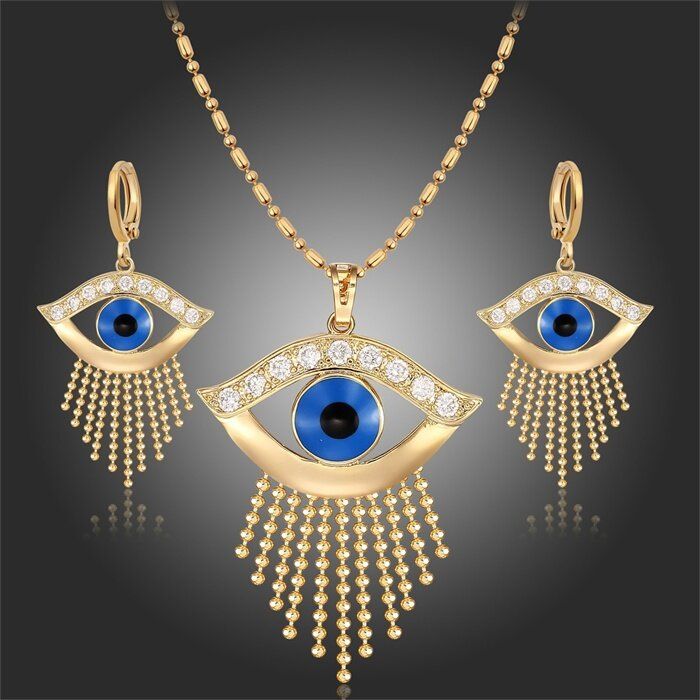 Vàng Vàng Màu Xanh Dương Ác Mắt Viền Đính Hạt Dây Chuyền Tua Rua 18  Vòng Cổ Mặt Dây Chuyền Bông Tai Ai Cập Pharaon Bộ Trang Sức Cho phụ Nữ