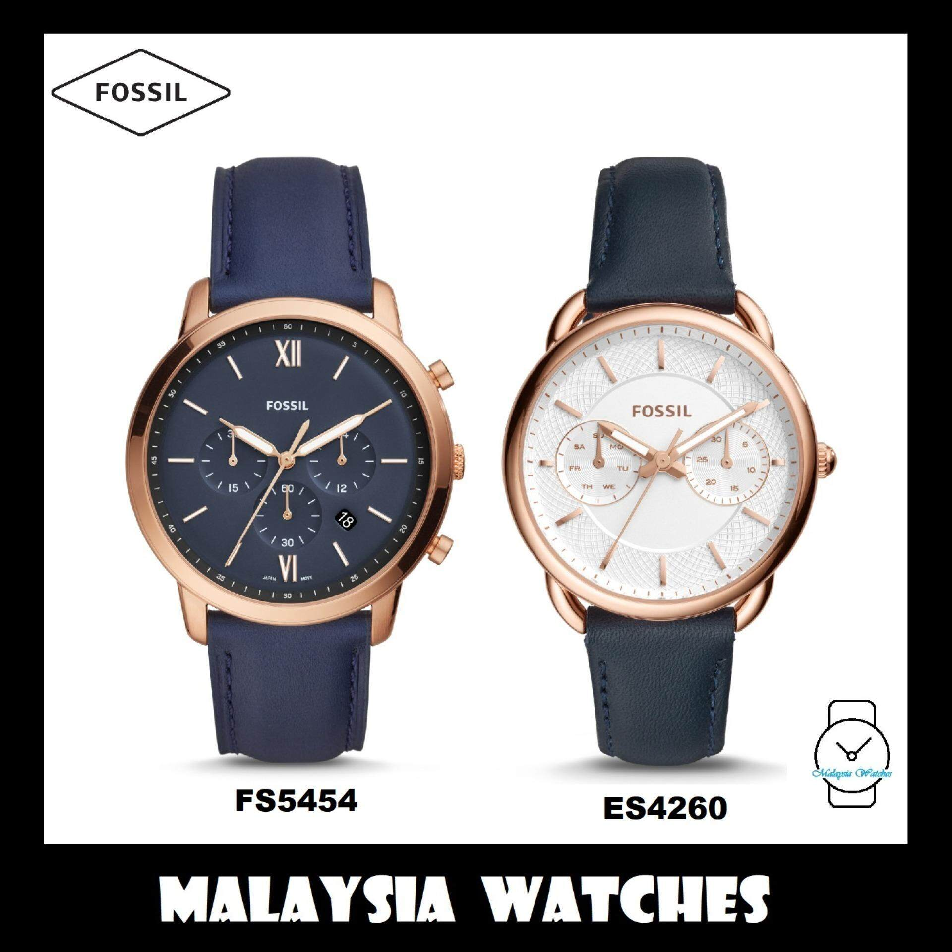 (OFFICIAL WARRANTY) Fossil Mens & Womens FS5454 & ES4260 Navy Leather Watch Combo (100% Original) Malaysia