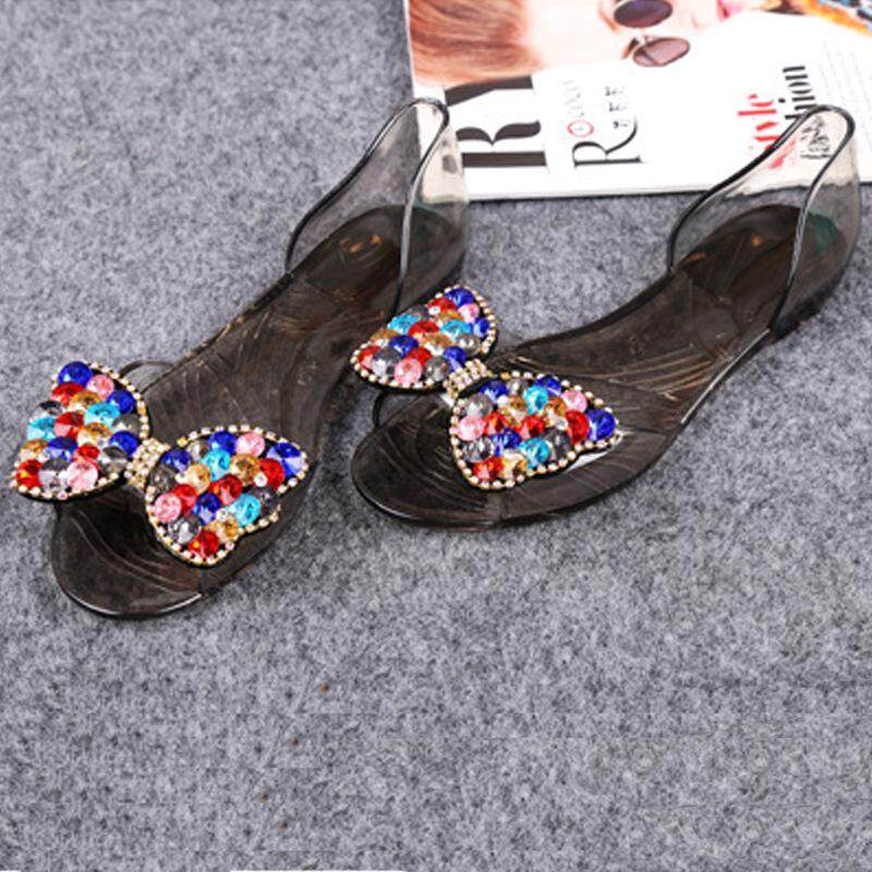 b5f161d1371aa6 XIUJING New Jelly Shoes Fish Mouth Water Drill Butterfly knotted Sandals  Women s Beach Plastic Bead Flat
