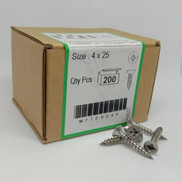 Chipboard Screw Flat Head Stainless Steel A2/304, M4x25, Full Thread, POZI Drive, 200 Pieces/Box
