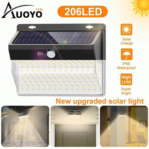 Auoyo 206LED Solar Lights Outdoor Lighting Solar Security Outdoor Lights 270° Wide Angle Lighting Solar Motion Sensor Lights Wireless Waterproof for Yard Garage Deck Pathway Porch
