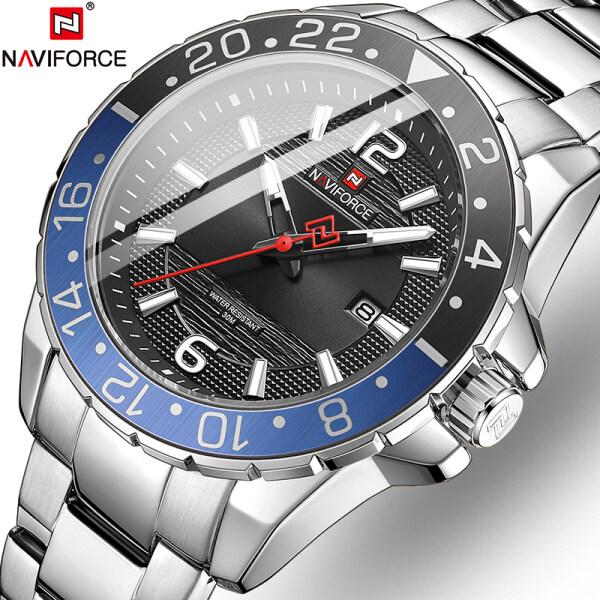 NAVIFORCE Brand Luxury Fashion Mens Business Watch Casual Mens Waterproof Sports Date Stainless Steel Watch Original Quartz Clock Malaysia