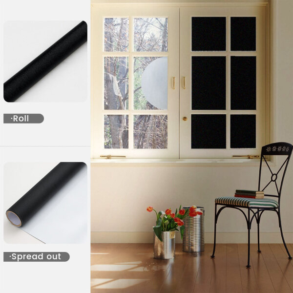 Dktie Privacy Blackout Window Film Black Full Blackout, No Heat Absorption No Glue Static Pvc Black And White Two-Color Window Film Heat Insulation Non-Adhesive Glass Sticker Uv Resistance 99% Uv Resistance, Black Inside And White Outside