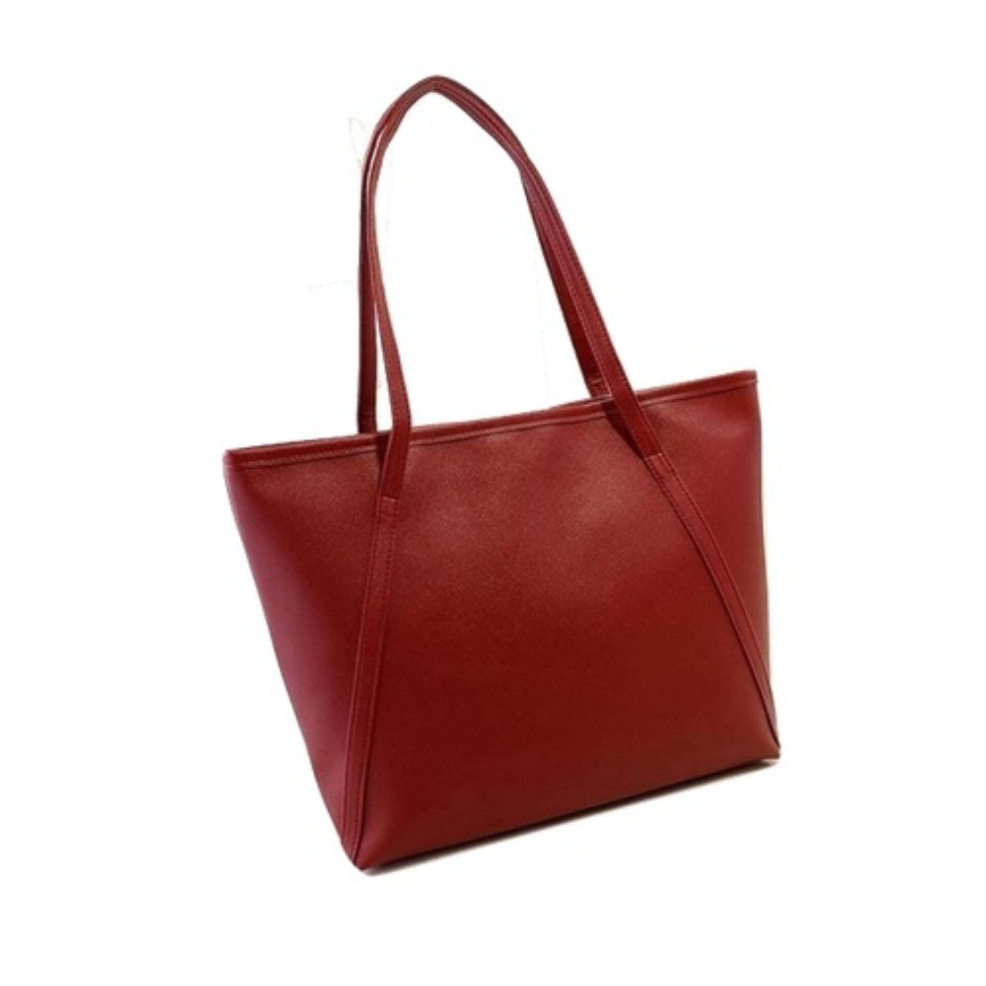 bfd311177d7 TEEMI Elegant Korean Style PU Leather Large Tote Bag Women Fashion Handbag  Shoulder Bag - Maroon