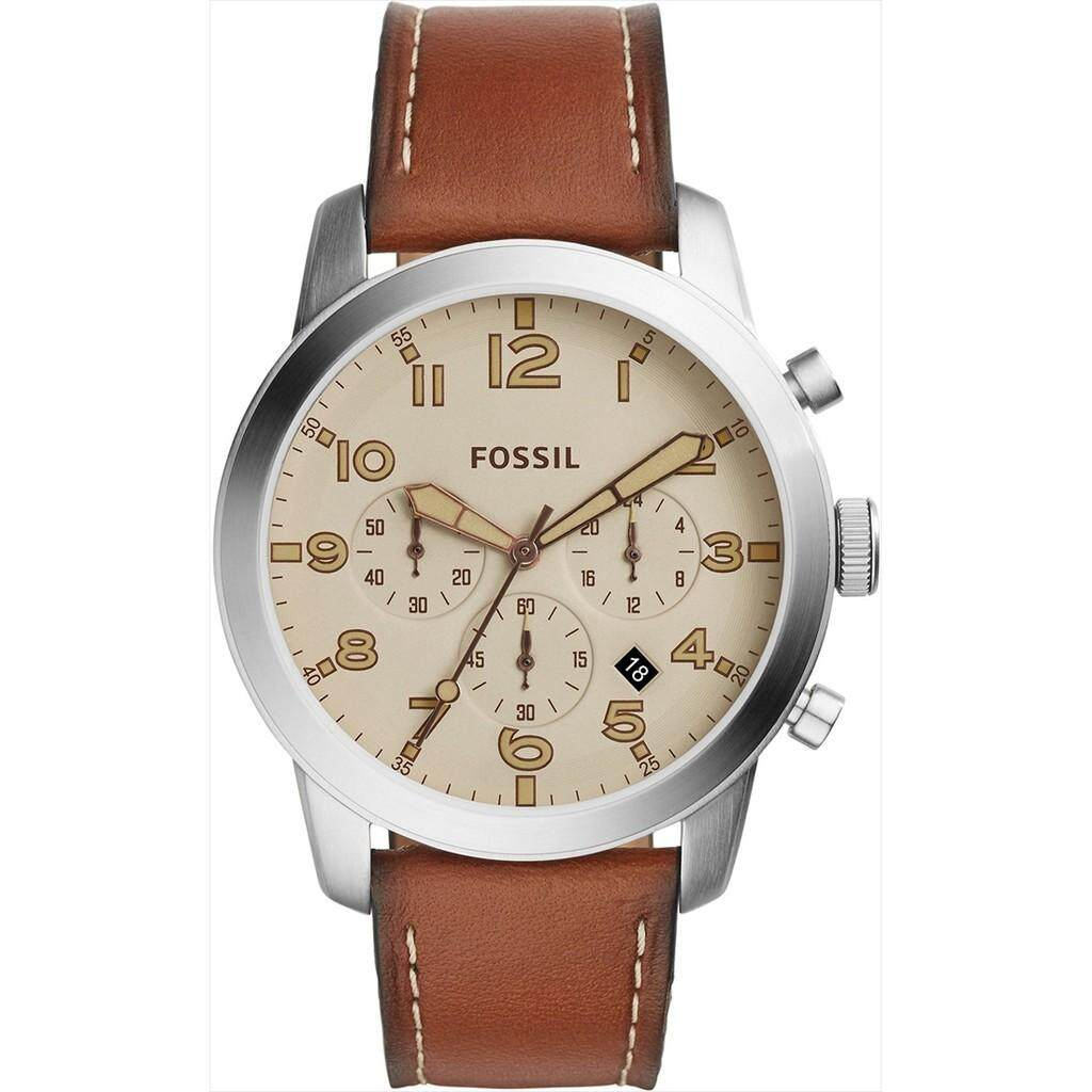 Fossil FS5144  Pilot 54 Beige Dial Chronograph Leather Strap Men's Watch stcok