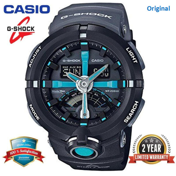 Original G-Shock GA500 Men Sport Watch Dual Time Display 200M Water Resistant Shockproof and Waterproof World Time LED Auto Light Sports Wrist Watches with 2 Year Warranty GA-500P-1 Black Blue (In Stock) Malaysia
