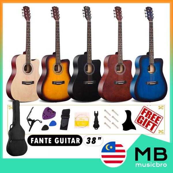 Fante 38inch Acoustic Guitar Beginner Cutaway Gitar Kapok Akustik FREE Bag Capo Guard String Pick Holder Strap Pin Malaysia