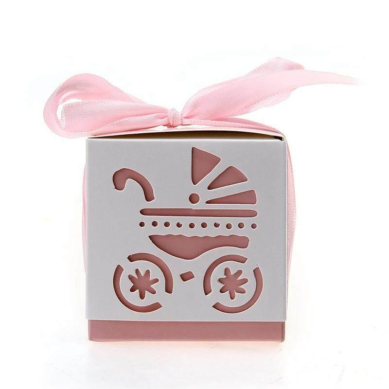 12pcs Wedding Favor Gift Ribbon Candy Box Cut Out Pram Design Baby Shower Party Với Giá Sốc