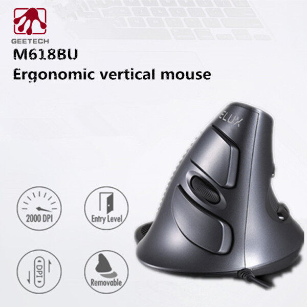 GEETECH M618BU Ergonomic Office Vertical Mouse 6 Buttons 600/1000/1600 DPI Right Hand Mice with Wrist mat For PC Laptop Computer Malaysia