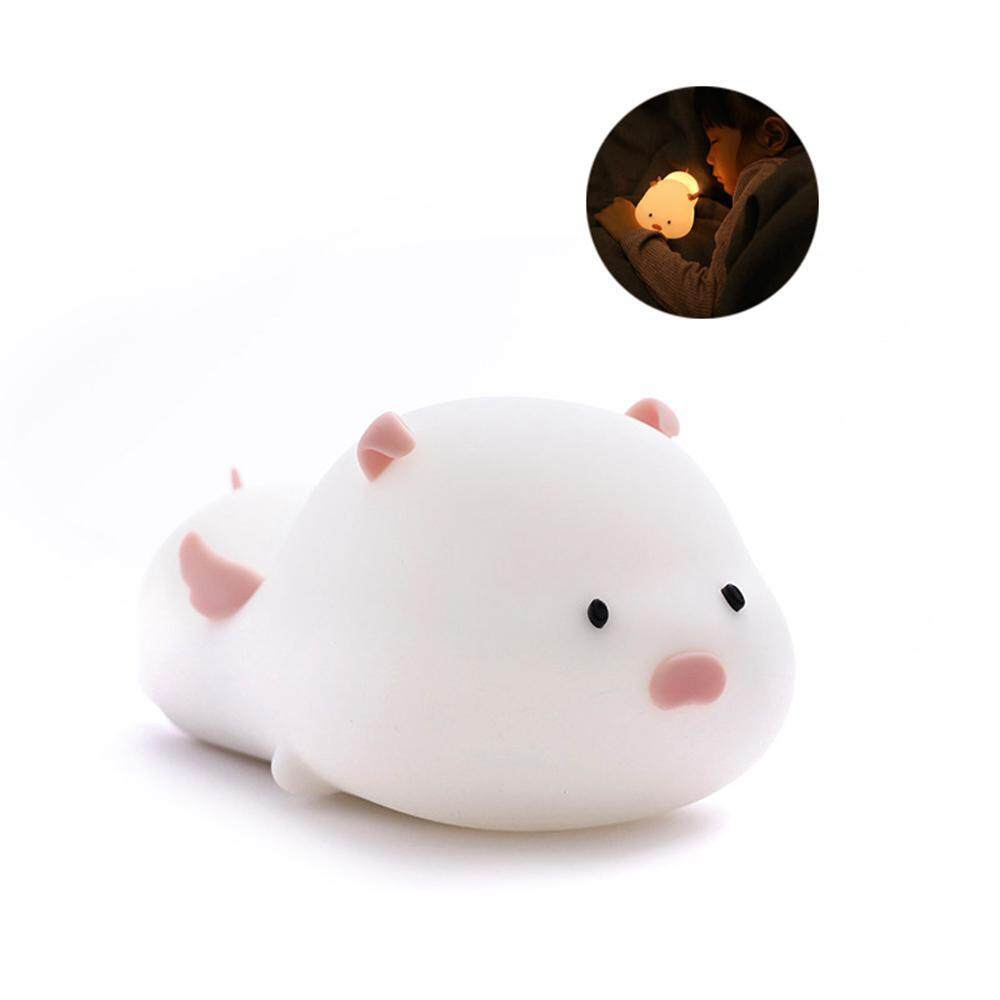 GoodGreat Piggy Night Lights for Kids - Soft Silicone Body with Dual Colors Touch Switch, Timing, and Dimming - Cute Nursery Night Light for Baby
