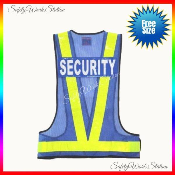 Safety Vest V Blue Netting With SECURITY Patch at Back