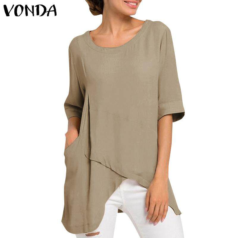 72cfb51e22b7a3 VONDA Women's Fashion Casual Round Neck Short Sleeve Shirt Blouse Shirt Tops  Oversize