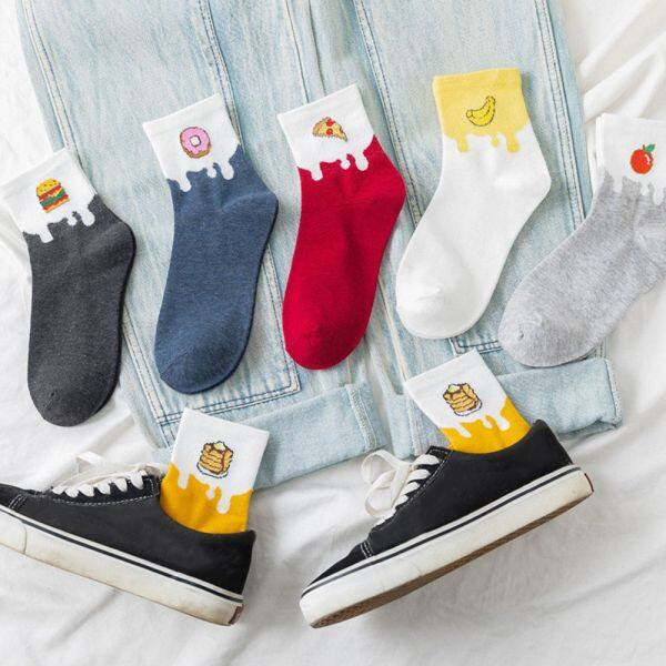 Giá bán HRRIUNG Korean Cute Novelty Food Funny Donut Cartoon Crew Socks Cotton Socks Long Sock Casual