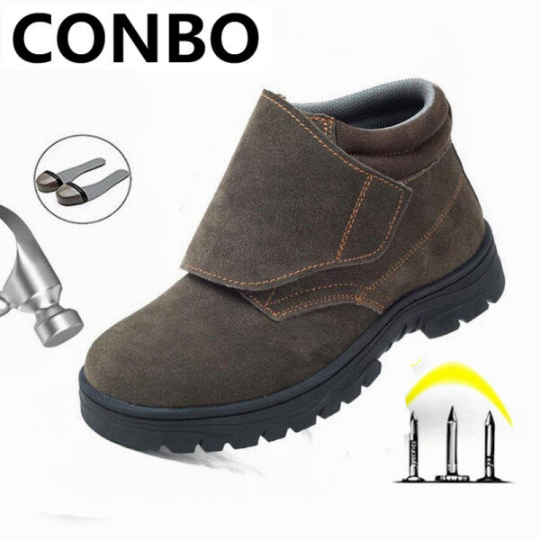 CONBO  Safety Shoes Men Unisex Work Shoes Safety Shoes Welding Shoes Leather Ankle Boots Mens Casual Welder Steel Toe Cap Steel Toe Shoes