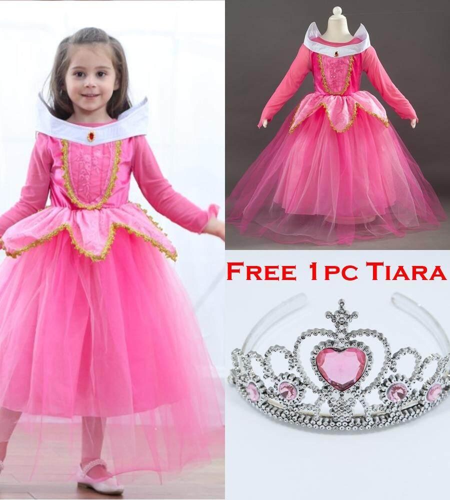 Disney Princess Aurora Of Sleeping Beauty Elegance Long Sleeves Costume Dress_PINK