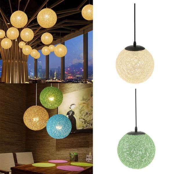 Perfk 2Pcs Rattan Ball Globe Pendant Lampshade Hanging Loft Ceiling Lamp