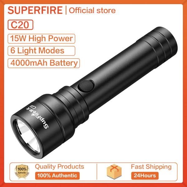 Supfire C20 (15W) Đèn Pin LED Không Thấm Nước Xách Tay USB Đèn Pin Ngoài Trời Cho Nhà Ở