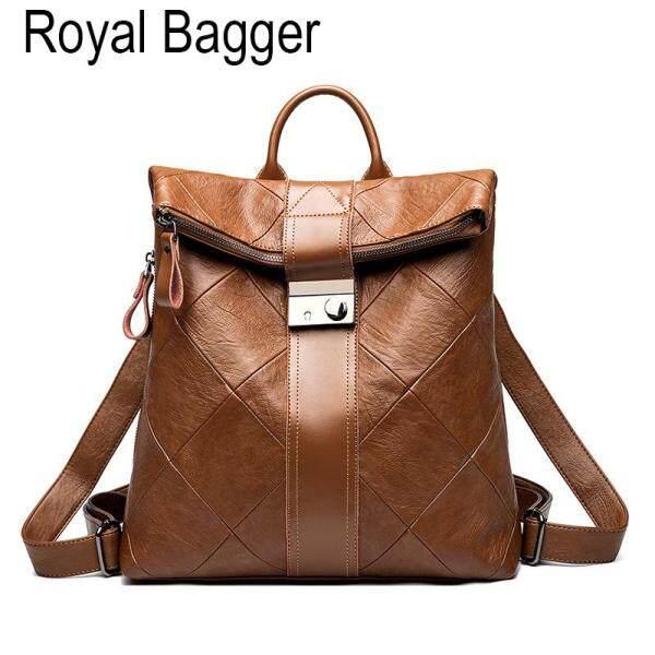 Royal Bagger Backpack For Women Girls Genuine Sheepskin Leather New Fashion Outdoor Casual Shoulder Travel Bag