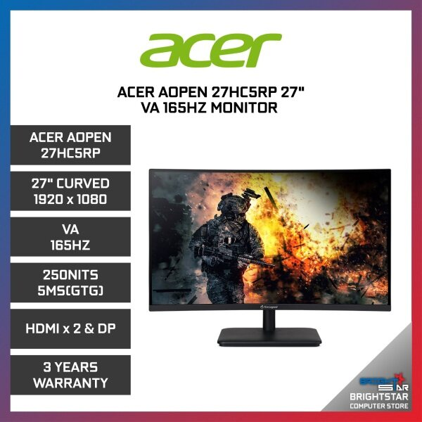 Gaming Monitor ACER AOPEN 27HC5RP ( 27 CURVED / 1920 x 1080 / VA / 165HZ / 250NITS / 5MS(GTG) / HDMI x 2 & DP / 3 Years Warranty ) Malaysia