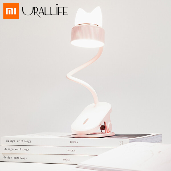 XiaoMi Mijia URALLIFE Clip Lamp LED Desk Bedside Lamp Portable 360 ° Bending USB Charging Folding Clip Table Lamp Light Three-speed  Eye Protection Adjustable Cat Reading Night Light For Home Bedroom