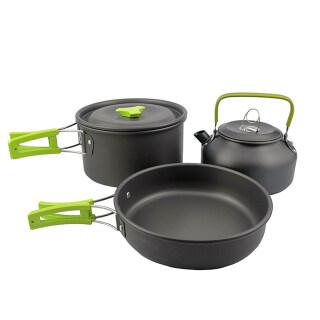 Bộ dụng cụ nấu nướng làm bằng nhôm siêu nhẹ gồm chảo nồi và ấm đun nước phù hợp mang khi đi du lịch cắm trại ngoài trời LIXADA - INTL thumbnail
