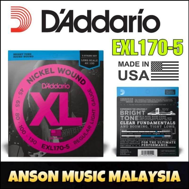 DAddario EXL170-5 Nickel Wound 5-String Bass, Light, 45-130, Long Scale (Daddario) Malaysia