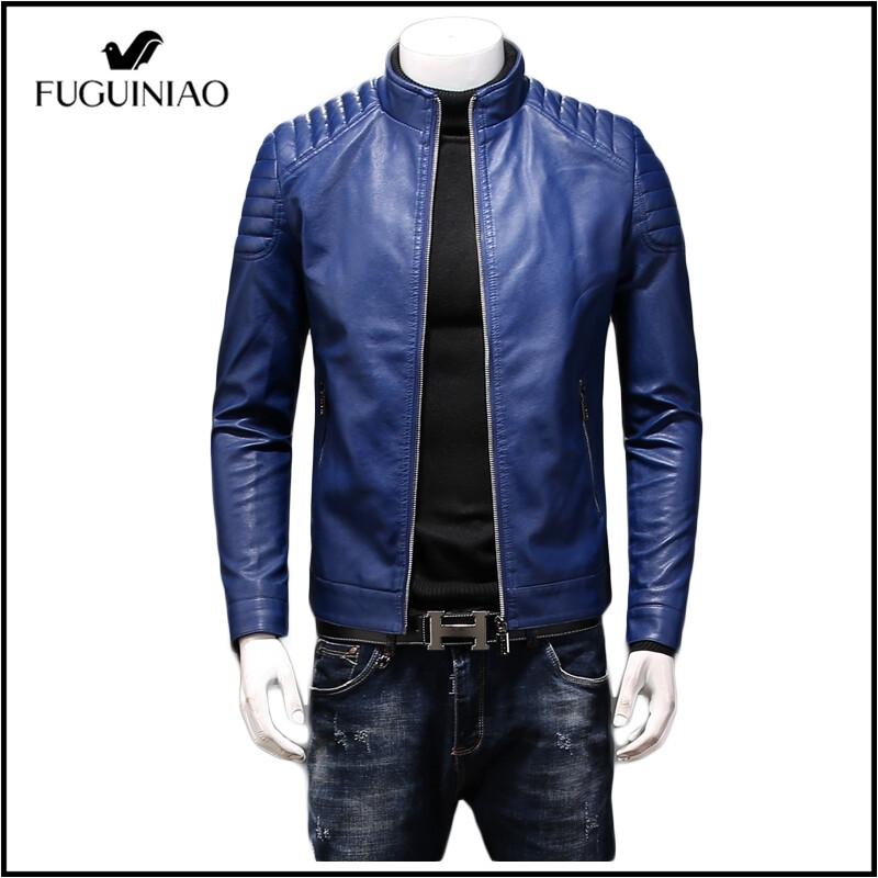 Fuguiniao 2021ชายแจ็กเก็ตหนัง S เสื้อโค้ทคุณภาพสูงเข้ารูปพอดี Windproof กันน้ำ Pu แจ็กเก็ตหนังผู้ชาย.