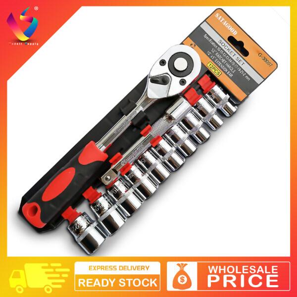 SATAGOOD 12pcs Set 1/2 Ratchet Wrench Socket Set Hardware Vanadium Repairing Kit 12 pcs Tools