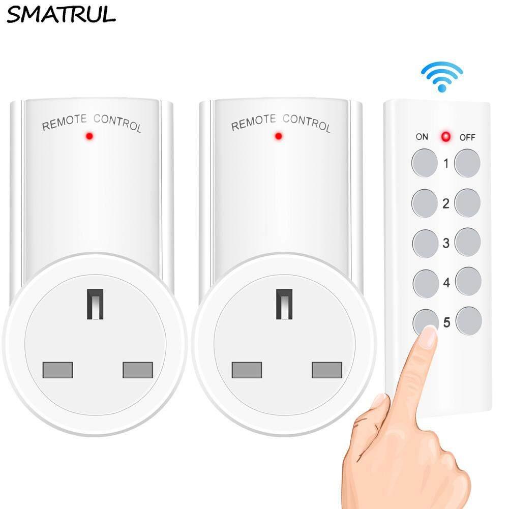 SMATRUL Wireless smart Remote Control Socket  Timer Plug wall Programmable Electrical UK Plug Outlet Switch 220v 230v LED Lights 1 Controller 2 Socket