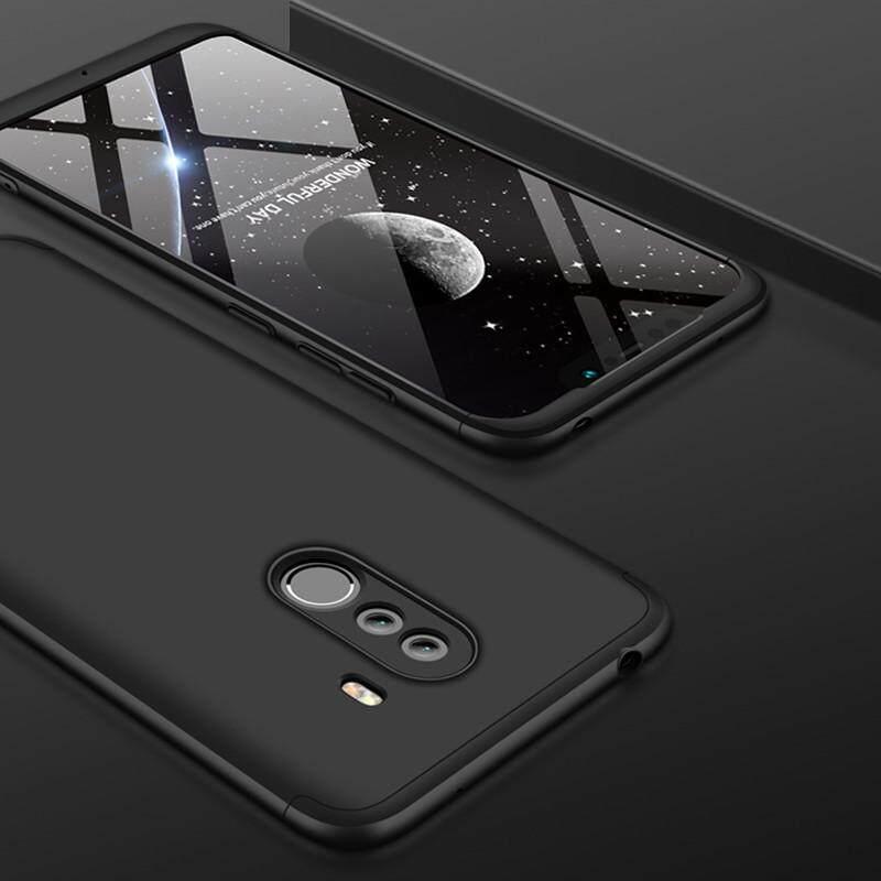 Baru 3-In-1 Casing Tahan Guncangan untuk Xiaomi Pocophone F1 Penutup Belakang Case Jatuh Pelindung HP Mewah Case Matte Anti- sidik Jari 360 Derajat Penuh Perlindungan Ultra Tipis Fashion Hard Hibrida PC