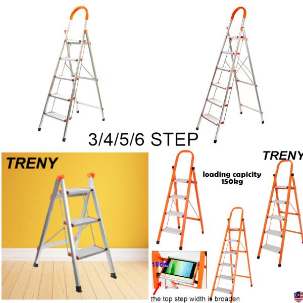 TRENY TRENY SGS Multi-Purpose Folding Portable Folding Ladder Aluminum, Wide Pedal Household Ladder Non-Slip Ladder Lightweight Kitchen Garage 3/4/5/6/Step